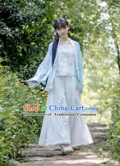 Traditional Ancient Chinese Female Costume Pink Blouse and Pants Complete Set, Elegant Hanfu Clothing Chinese Song Dynasty Palace Princess Embroidered Swallow Clothing for Women