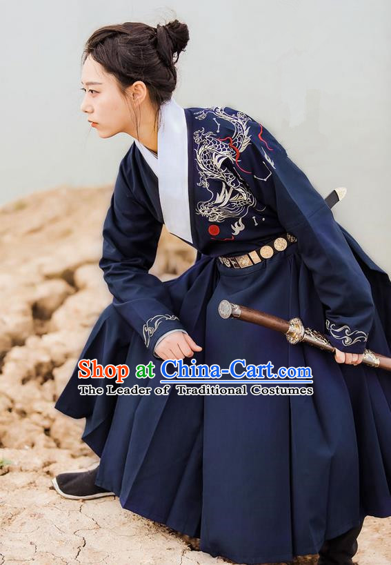 Traditional Ancient Chinese Female Swordsman Costume Complete Set, Elegant Hanfu Clothing Chinese Ming Dynasty Palace Imperial Bodyguard Embroidered Dragon Navy Clothing for Women