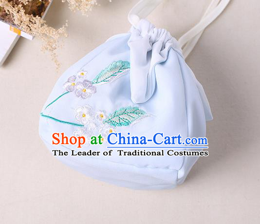 Traditional Ancient Chinese Embroidered Handbags Hanfu Embroidered Rabbit Flowers Square Light Blue Bag for Women
