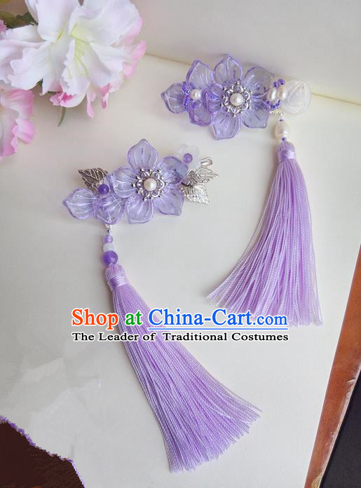 Traditional Handmade Chinese Ancient Classical Hair Accessories Barrettes Hairpin, Hair Sticks Tassel Hair Jewellery, Copper Hair Claws Hairpins for Women