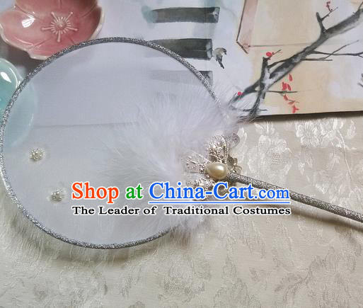 Traditional Chinese Handmade Ancient Hanfu Cosplay Red Feather Crystal Round Fan Props for Women