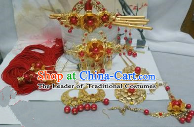 Traditional Handmade Chinese Ancient Classical Red Hair Accessories Earrings and Necklace Complete Set, Hair Sticks Butterfly Hair Jewellery, Hair Fascinators Hairpins for Women