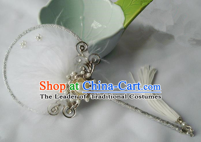 Traditional Chinese Handmade Ancient Hanfu Cosplay White Feather Round Fan Props for Women