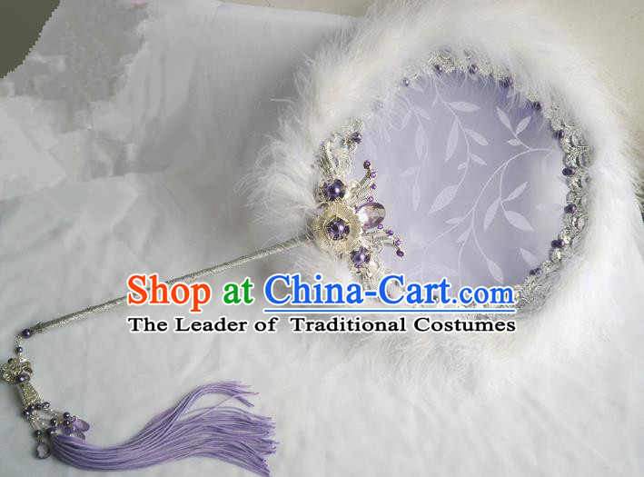 Traditional Chinese Handmade Ancient Hanfu Cosplay Purple Feather Round Fan Props for Women