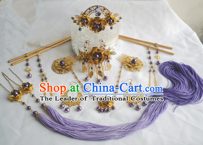 Traditional Handmade Chinese Ancient Classical Violet Gold Hair Accessories Earrings and Necklace Complete Set, Hair Sticks Butterfly Hair Jewellery, Hair Fascinators Hairpins for Women