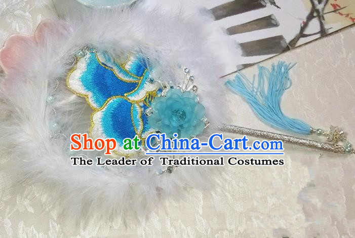 Traditional Chinese Handmade Ancient Hanfu Cosplay Blue Feather Embroidered Flowers Round Fan Props for Women