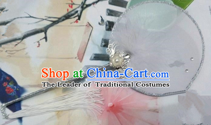 Traditional Chinese Handmade Ancient Hanfu Cosplay Round Fan Props for Women