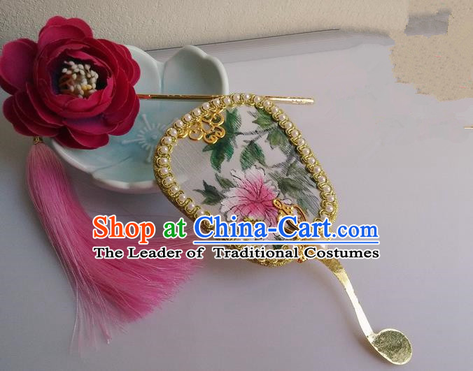 Traditional Chinese Handmade Ancient Hanfu Cosplay Little Palm-leaf Fan Props