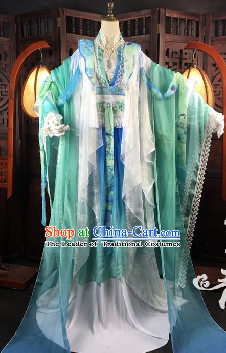 Traditional Ancient Chinese Imperial Consort Costume, Elegant Hanfu Clothing Chinese Tang Dynasty Imperial Empress Cosplay Fairy Tailing Embroidered Gradient Green Dress for Women