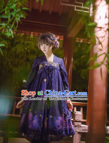 Traditional Ancient Chinese Imperial Consort Improved Costume, Elegant Hanfu Clothing Chinese Tang Dynasty Imperial Empress Cosplay Fairy Embroidered Violet Dress for Women