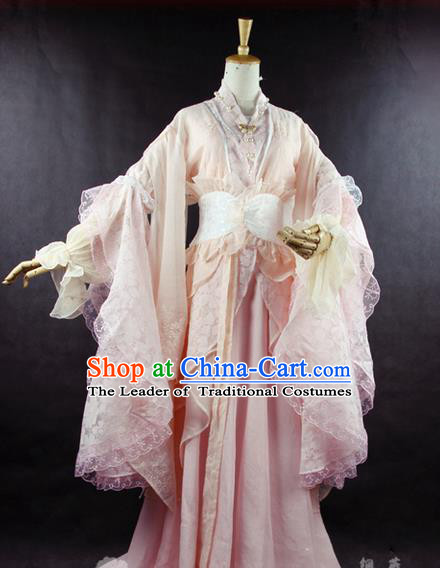 Traditional Ancient Chinese Imperial Consort Costume, Elegant Hanfu Clothing Chinese Tang Dynasty Imperial Empress Cosplay Fairy Tailing Embroidered Pink Dress for Women