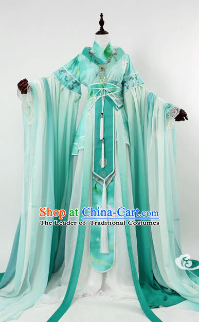 Traditional Ancient Chinese Imperial Consort Costume, Elegant Hanfu Clothing Chinese Tang Dynasty Imperial Empress Cosplay Fairy Tailing Embroidered Green Dress for Women