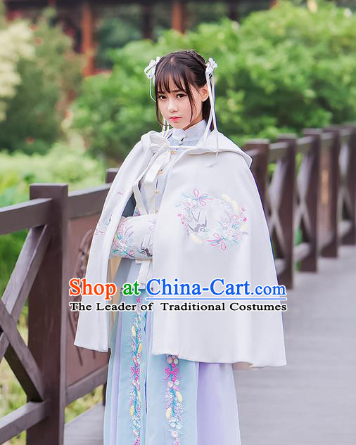 Traditional Ancient Chinese Embroidered Hanfu Muff Embroidered Swallow White Handwarmers for Women