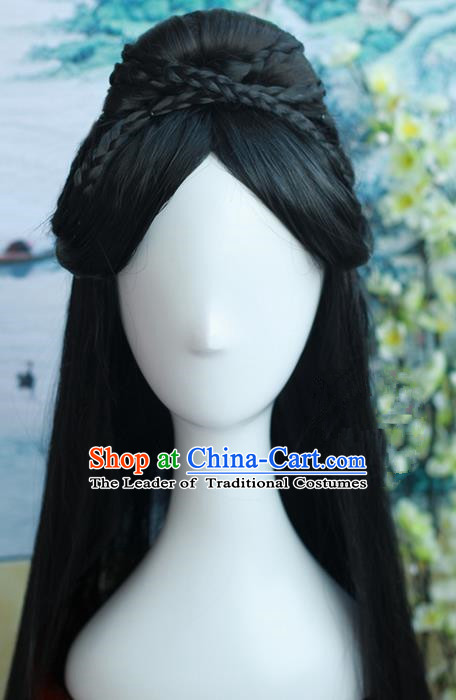 Traditional Handmade Ancient Chinese Tang Dynasty Princess Wig, Ancient Hanfu Dance Chinese Empress Wig for Women