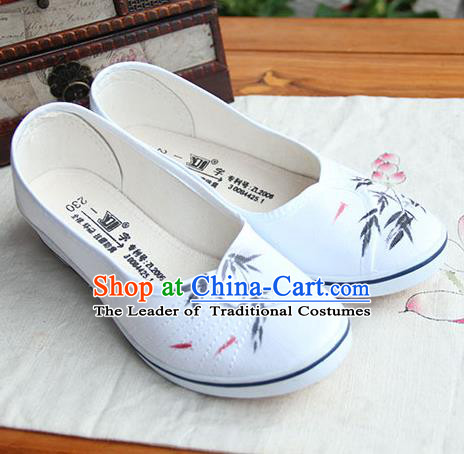 Traditional Handmade Ancient Chinese Han Dynasty Imperial Princess Freehand Sketching Hanfu Shoes for Women