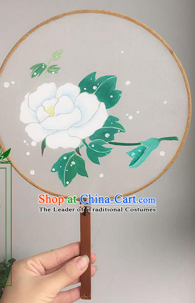 Traditional Handmade Ancient Chinese Han Dynasty Imperial Princess Painting Peony Round Hanfu Silk Fan for Women