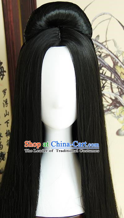 Traditional Handmade Ancient Chinese Tang Dynasty Imperial Empress Wig Complete Set, Ancient Chinese Cosplay Fairy Queen Wig for Women