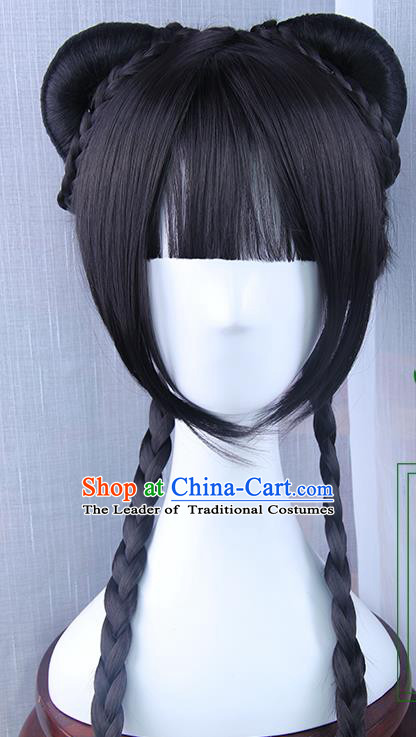 Traditional Handmade Ancient Chinese Han Dynasty Imperial Princess Wig, Ancient Chinese Hanfu Cosplay Palace Lady Fairy Wig for Women
