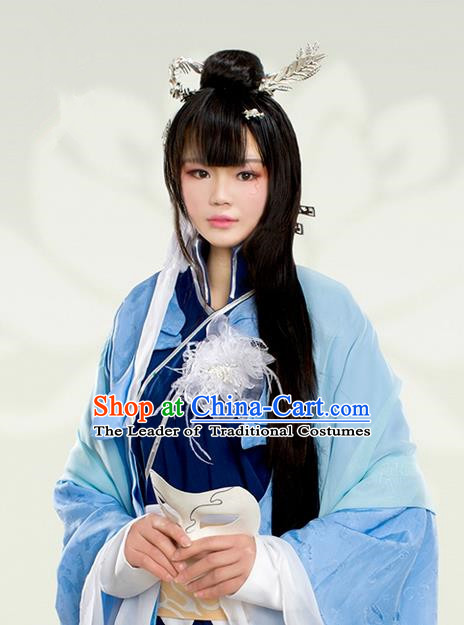 Traditional Handmade Ancient Chinese Tang Dynasty Imperial Empress Hair Decoration and Wig Complete Set, Ancient Chinese Cosplay Fairy Queen Hairpin Headwear and Wig for Women