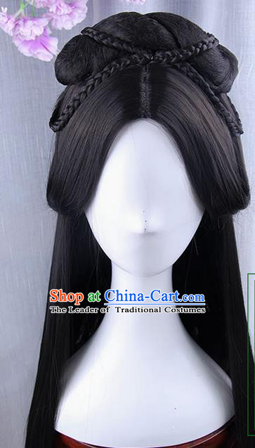 Traditional Handmade Ancient Chinese Han Dynasty Imperial Princess Wig, Ancient Chinese Hanfu Cosplay Fairy Palace Lady Queen Wig for Women
