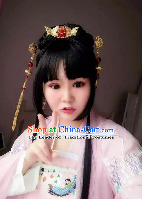 Traditional Handmade Ancient Chinese Han Dynasty Imperial Princess Butterfly Hair Decoration and Wig Complete Set, Ancient Chinese Hanfu Cosplay Fairy Young Lady Headwear and Wig for Women