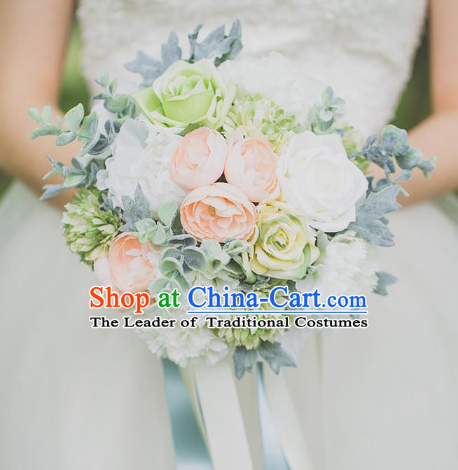 Top Grade Classical Wedding Silk Flowers, Bride Holding Emulational Flowers, Hand Tied Bouquet Flowers for Women