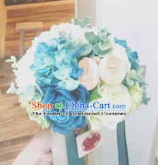 Top Grade Classical Wedding Silk Flowers, Bride Holding Emulational Blue Hydrangea Rose Flowers, Hand Tied Bouquet Flowers for Women