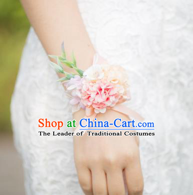 Top Grade Classical Wedding Silk Flowers, Bride Emulational Pink White Wrist Flowers Bracelet Flowers for Women
