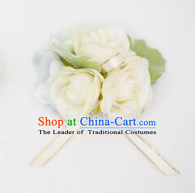 Top Grade Classical Wedding Silk Flowers, Bride Emulational Wrist Flowers Bridesmaid Bracelet Champagne Flowers for Women