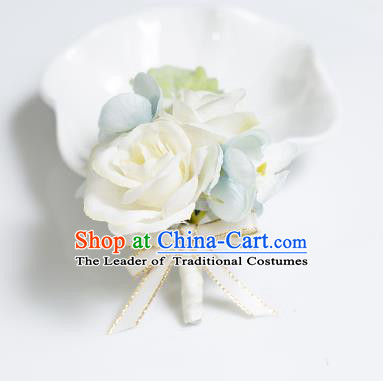 Top Grade Classical Wedding Silk Flowers,Groom Emulational Corsage Groomsman Champagne Brooch Flowers for Men