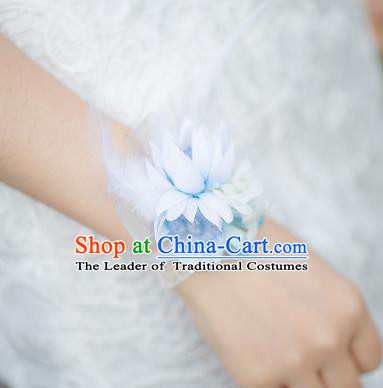 Top Grade Classical Wedding Silk Flowers, Bride Emulational Wrist Flowers Bridesmaid Bracelet Blue Feather Flowers for Women