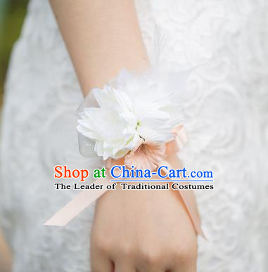 Top Grade Classical Wedding Silk Flowers, Bride Emulational Wrist Flowers Bridesmaid Bracelet Pink Feather Flowers for Women