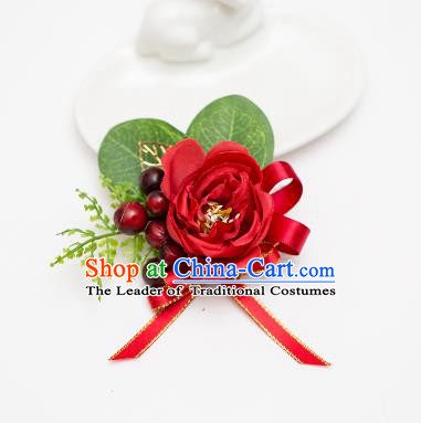 Top Grade Classical Wedding Silk Flowers, Bride Emulational Wrist Flowers Bridesmaid Bracelet Red Flowers for Women