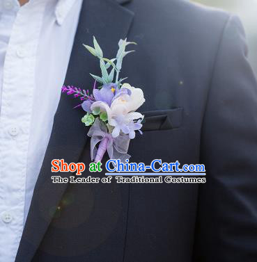 Top Grade Classical Wedding Silk Flowers,Groom Emulational Corsage Groomsman Lilac Brooch Flowers for Men