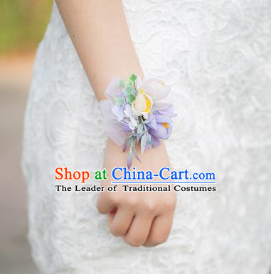 Top Grade Classical Wedding Silk Flowers, Bride Emulational Wrist Flowers Bridesmaid Bracelet Lilac Flowers for Women