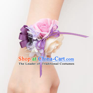 Top Grade Classical Wedding Silk Flowers, Bride Emulational Wrist Flowers Bridesmaid Bracelet Flowers for Women