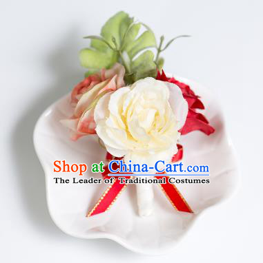 Top Grade Classical Wedding Silk Flowers,Groom Emulational Corsage Groomsman Red Brooch Flowers for Men