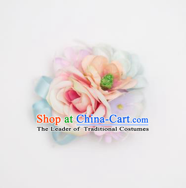 Top Grade Classical Wedding Silk Flowers, Bride Emulational Wrist Flowers Bridesmaid Bracelet Pink Blue Flowers for Women