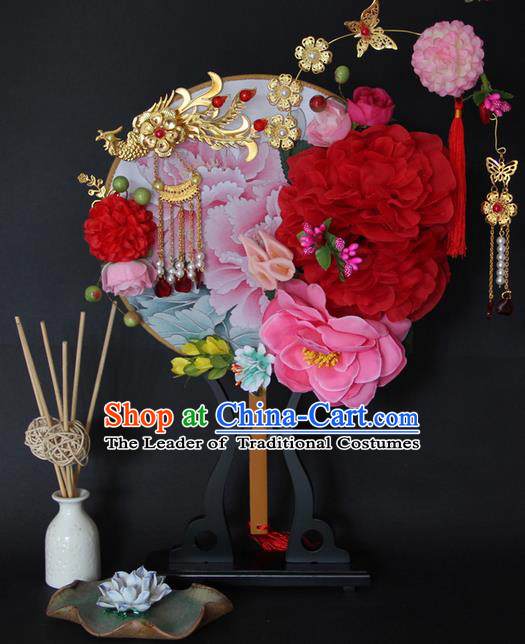 Traditional Handmade Chinese Ancient Classical Wedding Accessories Flowers Decoration, Bride Wedding Flowers Round Fan, Hanfu Xiuhe Suit Palace Phoenix Fan for Women