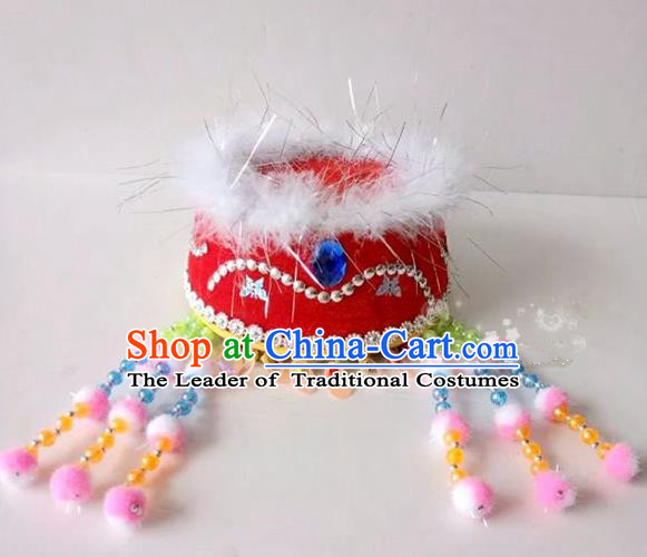 Traditional Chinese Mongol Nationality Dancing Accessories Headdress, Mongolian Kids Folk Dance Ethnic Headwear China Minority Palace Princess Dance Red Hat for Children