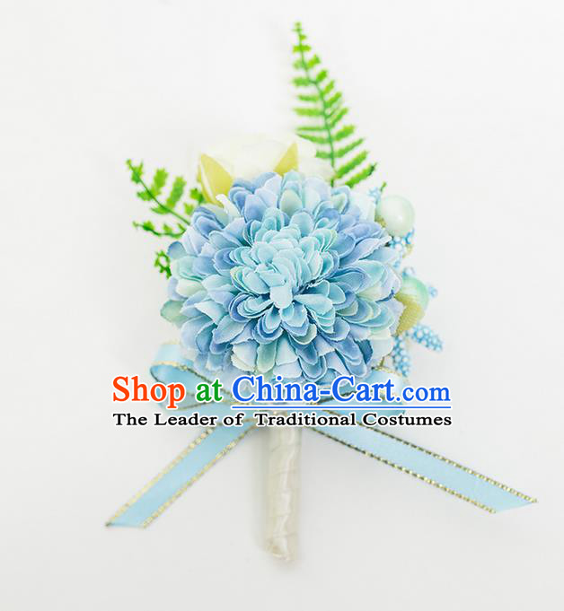 Top Grade Classical Wedding Silk Flowers,Groom Emulational Corsage Groomsman Blue Brooch Flowers for Men