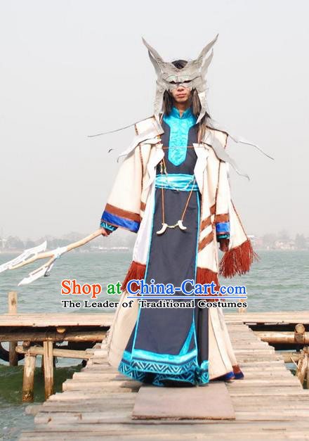 Traditional Ancient Chinese Classical Cartoon Character Uniform Cosplay Game Role Wu Xian Qin Dynasty Swordmen Costume and Headwear Complete Set for Men