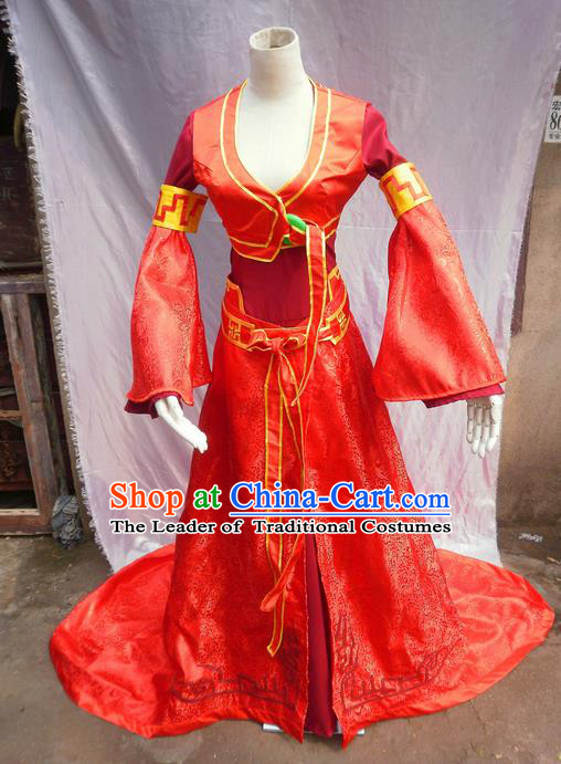 Traditional Ancient Chinese Classical Cartoon Character Uniform Cosplay Game Role Han Dynasty Swordmen Red Costume Complete Set for Women