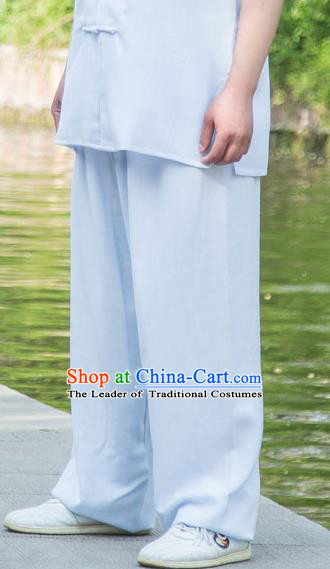 Traditional Chinese Top Linen Kung Fu Costume Martial Arts Kung Fu Training Light Blue Pants, Tang Suit Gongfu Shaolin Wushu Clothing Tai Chi Taiji Teacher Trousers for Men
