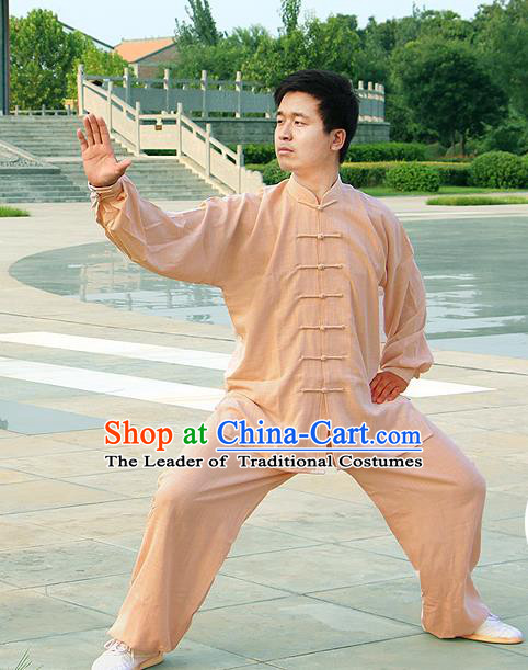 Traditional Chinese Top Linen Kung Fu Costume Martial Arts Kung Fu Training Light Brown Uniform, Tang Suit Gongfu Shaolin Wushu Clothing, Tai Chi Taiji Teacher Suits Uniforms for Men