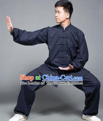 Traditional Chinese Top Flax Kung Fu Costume Martial Arts Kung Fu Training Navy Uniform, Tang Suit Gongfu Shaolin Wushu Clothing, Tai Chi Taiji Teacher Suits Uniforms for Men