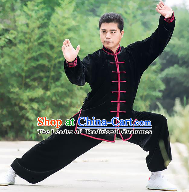 Traditional Chinese Top Pleuche Kung Fu Costume Martial Arts Kung Fu Training Black Uniform, Tang Suit Gongfu Shaolin Wushu Clothing, Tai Chi Taiji Teacher Suits Uniforms for Men