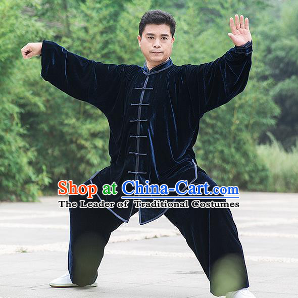 Traditional Chinese Top Pleuche Kung Fu Costume Martial Arts Kung Fu Training Navy Uniform, Tang Suit Gongfu Shaolin Wushu Clothing, Tai Chi Taiji Teacher Suits Uniforms for Men