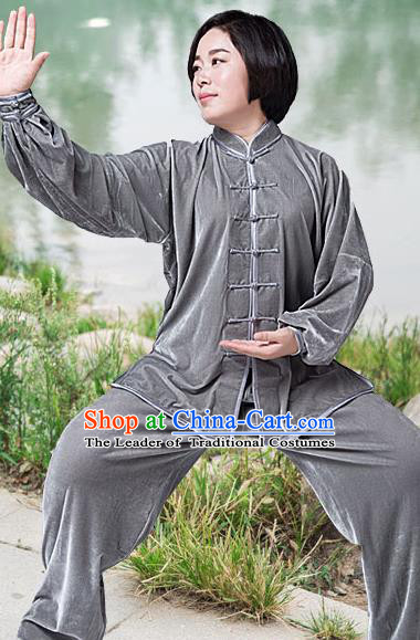 Traditional Chinese Top Pleuche Kung Fu Costume Martial Arts Kung Fu Training Grey Plated Buttons Uniform, Tang Suit Gongfu Shaolin Wushu Clothing, Tai Chi Taiji Teacher Suits Uniforms for Women