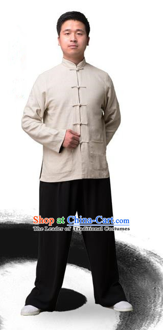 Traditional Chinese Top Linen Kung Fu Costume Martial Arts Kung Fu Training Plated Buttons White Blouse, Tang Suit Gongfu Shaolin Wushu Clothing, Tai Chi Taiji Teacher Coat for Men